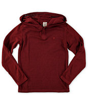 Volcom Boys Burnt Burnout Hooded Henley Thermal Shirt