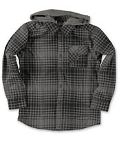 Volcom Boys Donner Charcoal Hooded Long Sleeve Flannel Shirt