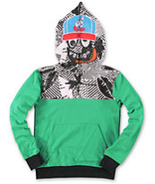 Volcom Boys Half Upper Over Green Half Zip Face Mask Hoodie