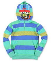 Volcom Boys Hide Out Green Half Zip Face Mask Hoodie