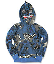 Volcom Boys Hideout Blue Half Zip Face Mask Hoodie
