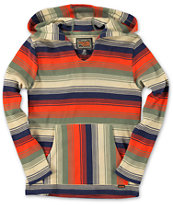 Volcom Boys Mehico Blue & Orange Long Sleeve Hooded Thermal Shirt