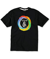 Volcom Boys Round Rainbow Black Tee Shirt