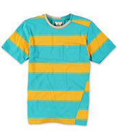 Volcom Boys Square Crew Orange Stripe Tee Shirt