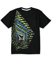 Volcom Boys Stipe Stone Black Tee Shirt