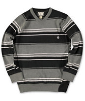 Volcom Boys Understated Black Stripe V-Neck Sweater