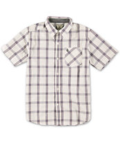 Volcom Boys Why Factor White Plaid Button Up Shirt