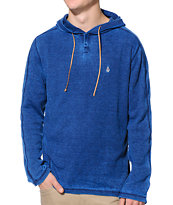 Volcom Burnt Burnout Blue Hooded Henley Thermal Shirt