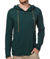 Volcom Burnt Burnout Dark Green Thermal Henley Hooded Shirt