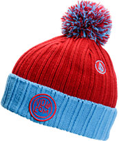 Volcom Garage Red Pom Fold Beanie