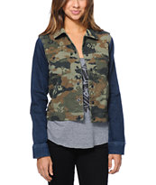 Volcom Girls At Dawn Camo Denim Jacket