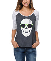 Volcom Girls Badd A Charcoal Raglan Tee Shirt
