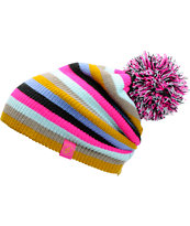 Volcom Girls Deluxe Black Stripe Pom Beanie