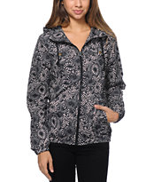 Volcom Girls Enemy Lines Black Floral Windbreaker Jacket