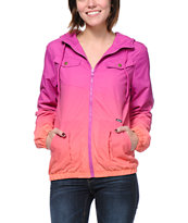 Volcom Girls Enemy Lines Blush Pink & Coral Ombre Windbreaker Jacket
