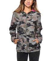 Volcom Girls Enemy Lines Camo Print Windbreaker Jacket