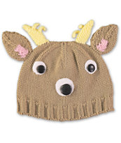 Volcom Girls Fawntimes Brown Reindeer Beanie