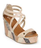 Volcom Girls Getting Around Beige Wedge Sandals