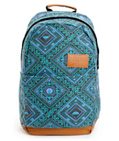 Volcom Girls Going Back Green Tribal Print Laptop Backpack
