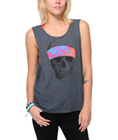 Volcom Girls Grateful Skull Charcoal Muscle Tank Top