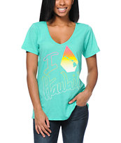 Volcom Girls I Stone Hawaii Teal V-Neck Tee Shirt