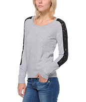 Volcom Girls Lace A Lot Heather Grey Crew Neck Sweatshirt