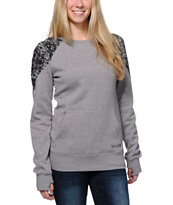 Volcom Girls Royal Grey Crew Neck Tech Fleece Sweatshirt