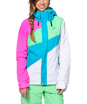 Volcom Girls Slogan Teal, Pink & White 10K Snowboard Jacket 2014