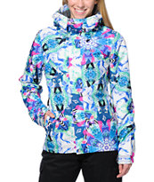 Volcom Girls Slogan White Print 10K Snowboard Jacket 2014