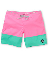 Volcom Girls Sparrow 7 Pink & Mint Board Shorts