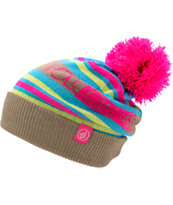 Volcom Girls Split Shadow Neon Pink Pom Fold Beanie