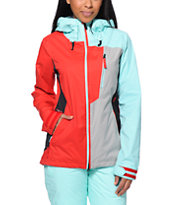 Volcom Girls Stone Red & Mint 10K Snowboard Jacket 2014