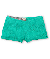 Volcom Girls Stone Roses Teal Lace Shorts