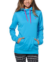 Volcom Girls Survey Blue Pullover Hydro Tech Fleece Jacket