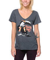 Volcom Girls Twocan Party Charcoal V-Neck tee Shirt