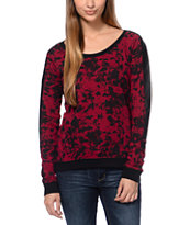 Volcom Lace A Lot Faux Wash Dark Red Crew Neck Top