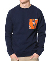 Volcom Mallace Navy Crew Neck Pocket Sweatshirt