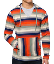 Volcom Mehico Blue & Orange Long Sleeve Hooded Thermal Shirt