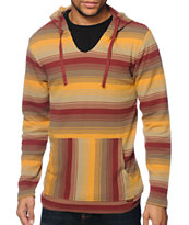 Volcom Mehico Burgundy & Yellow Long Sleeve Hooded Thermal Shirt