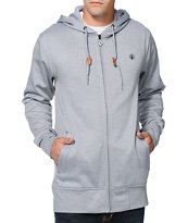 Volcom Mod Heather Grey Zip Up Tech Fleece Hooded Jacket