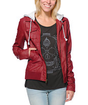 Volcom Motor On Red Faux Leather Hooded Jacket