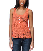Volcom Not So Classic Coral Lace Tank Top