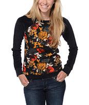 Volcom Notafaze Black Floral Print Fleece Crew Neck Sweatshirt