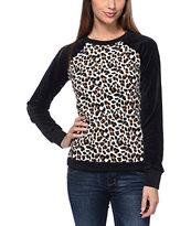 Volcom Notafaze Leopard Print Fleece Crew Neck Sweatshirt