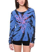 Volcom OMG I Dye Blue Tie Dye Crew Neck Sweatshirt
