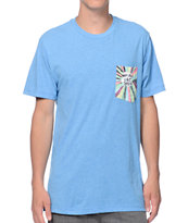 Volcom Ozzie Antibad Vibes Heather Blue Pocket Tee Shirt