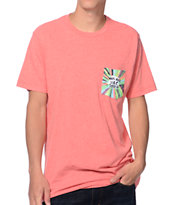 Volcom Ozzie Antibad Vibes Heather Red Pocket Tee Shirt