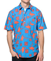 Volcom Pops Blue Print Short Sleeve Button Up Shirt