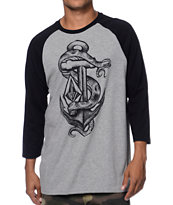 Volcom Snachor Heather Grey & Black Baseball T-Shirt