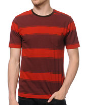 Volcom Square Crew Red Stripe Knit Tee Shirt